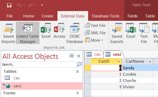 "Shows ""Linked Table Manager"" under the ""External Data"" tab in Microsoft Access. Underneath are two panes: The All Access Objects pane shows the available tables, and the second pane shows data from the table. The ""cats2"" table is selected."