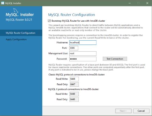 MySQL :: MySQL Installer Guide :: 4.2 MySQL Router Configuration ...