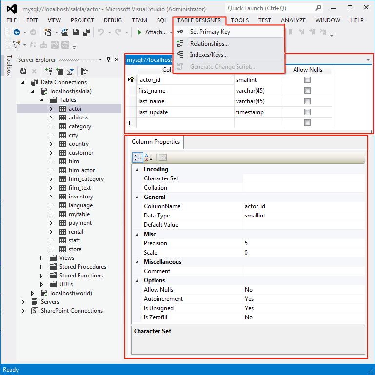 Column Properties Panel  sc 1 st  MySQL  Developer Zone & MySQL :: MySQL for Visual Studio :: 5.3.2 Column Properties
