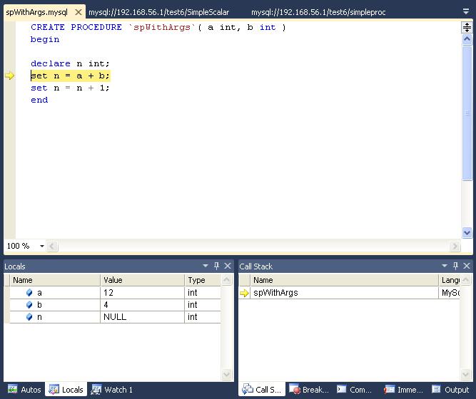 MySQL :: MySQL for Visual Studio :: 11 Debugging Stored