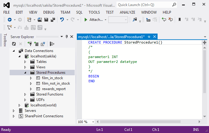 Mysql mysql for visual studio 5 7 editing stored for Sql server stored procedure template