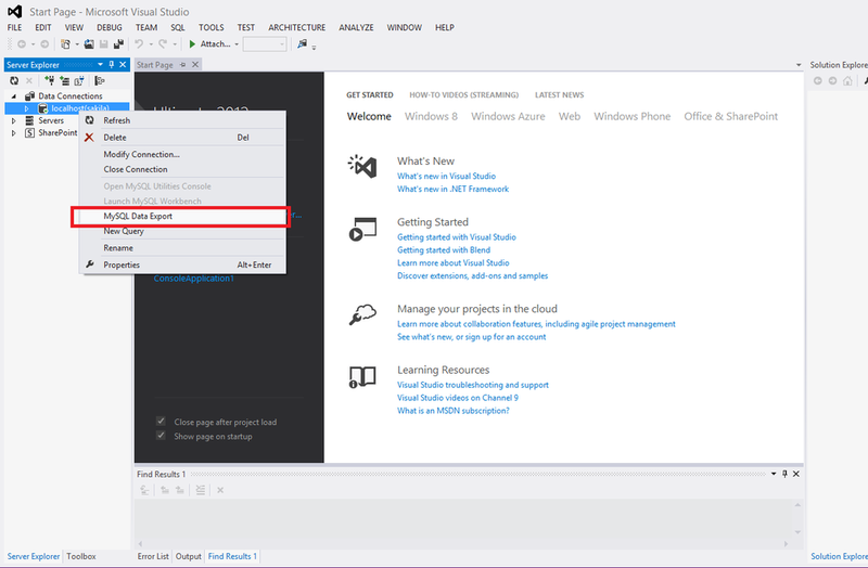 how to connect mysql to visual studio 2010