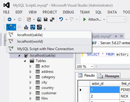 MySQL :: MySQL for Visual Studio :: 3 The MySQL Toolbar