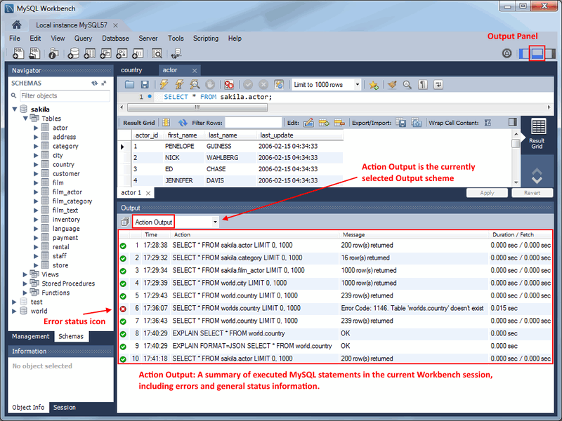 MySQL :: MySQL Workbench Manual :: 8 1 7 Output Panel