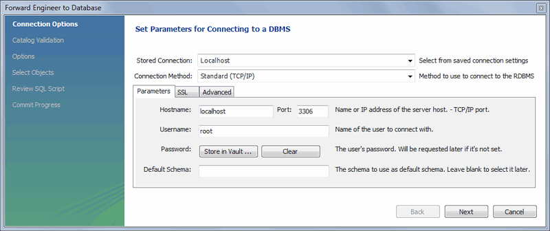 MySQL :: MySQL Workbench Manual :: 9 4 1 2 Forward Engineering to a