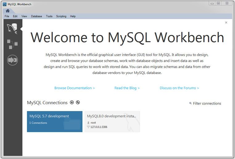 MySQL :: MySQL Workbench Manual :: 4 The Home Screen