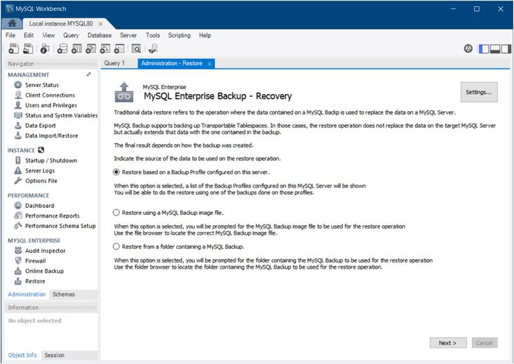 MySQL :: MySQL Workbench Manual :: 6 7 3 Backup Recovery