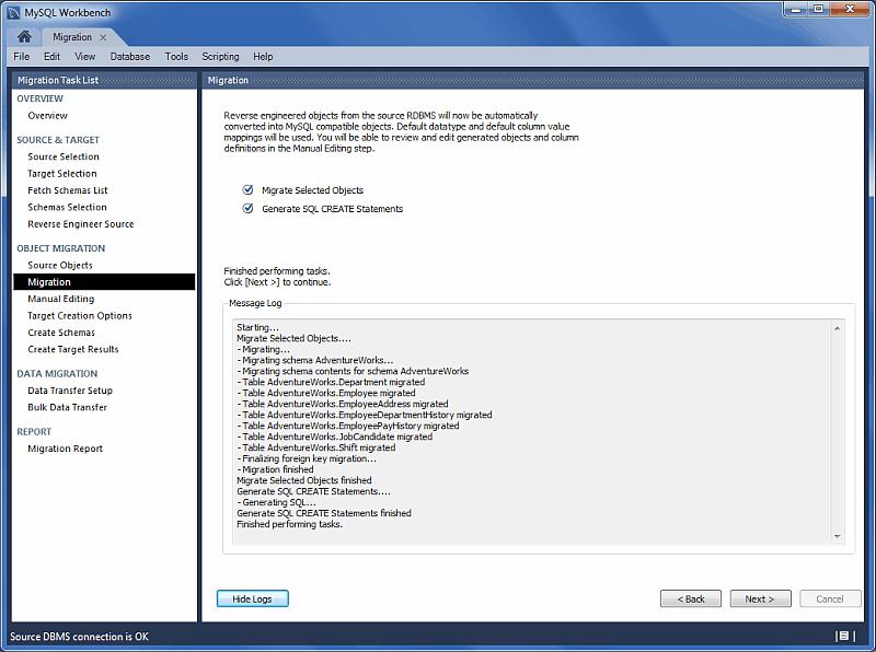MySQL Workbench migration: Migration