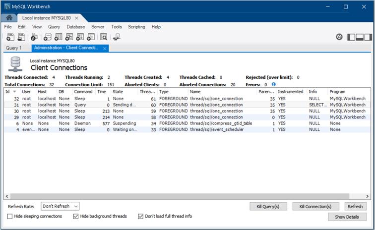 MySQL :: MySQL Workbench Manual :: 5 4 Client Connections