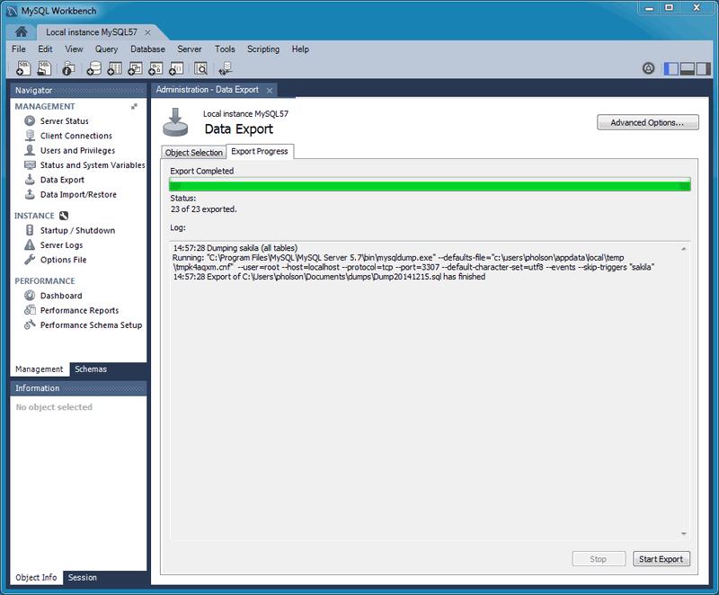 MySQL :: MySQL Workbench Manual :: 6 5 2 SQL Data Export and Import