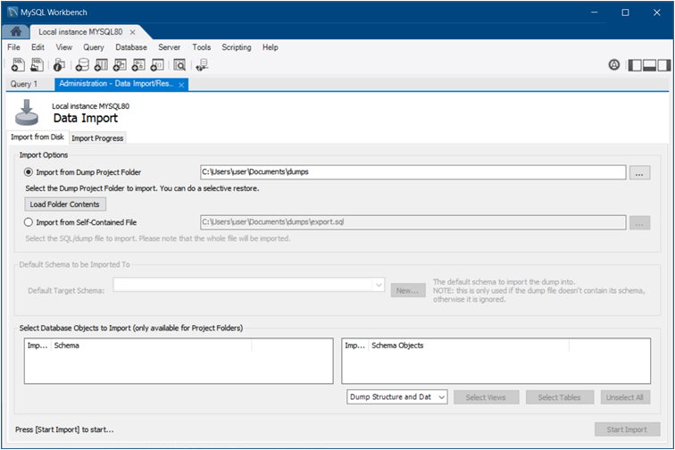 Navigator Management: Data Import: Import From Disk