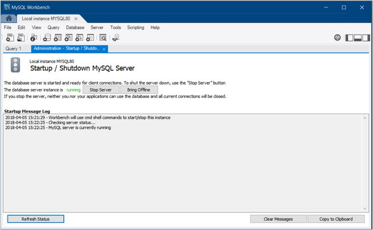 MySQL :: MySQL Workbench Manual :: 6 1 2 Service Control
