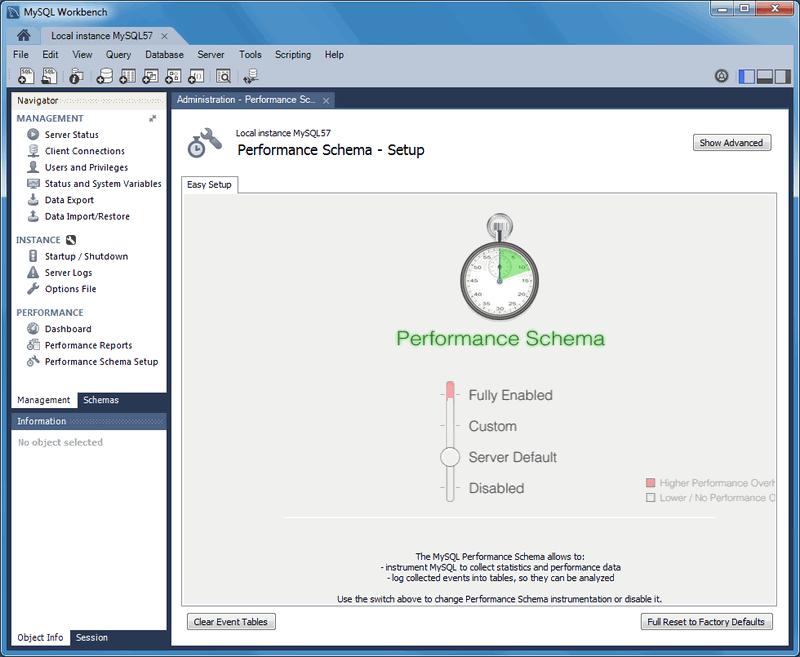 MySQL :: MySQL Workbench Manual :: 7 2 Performance Schema Reports