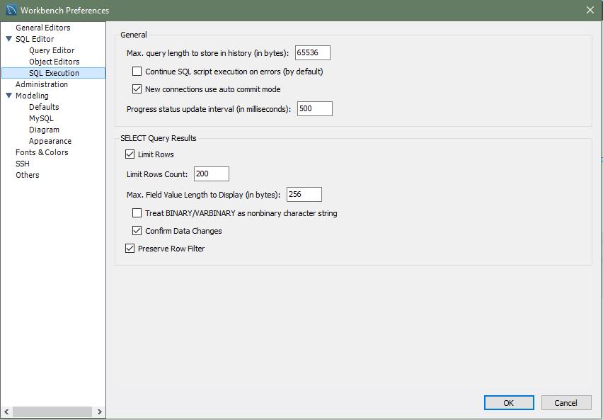 MySQL :: MySQL Workbench Manual :: 3.2.2 SQL Editor Preferences
