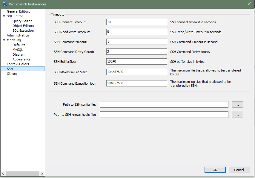 MySQL :: MySQL Workbench Manual :: 3 2 6 SSH Preferences