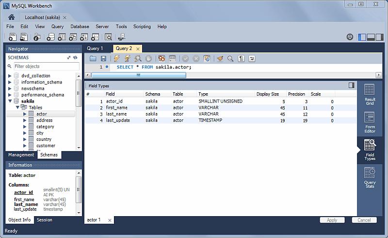 SQL Editor: Field Types