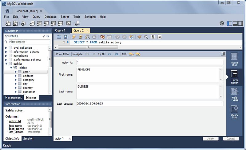 SQL Editor: Form Editor