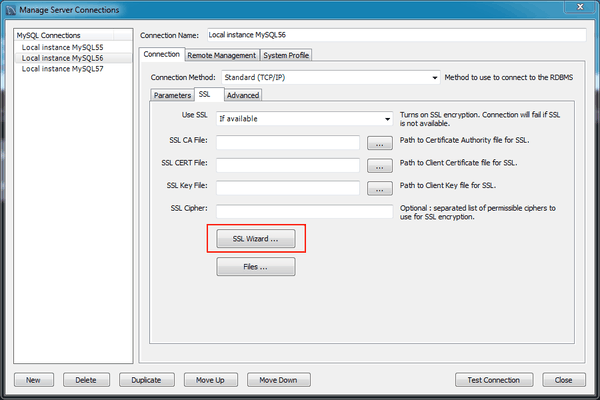 MySQL :: MySQL Workbench Manual :: 5 3 4 SSL Wizard (Certificates)